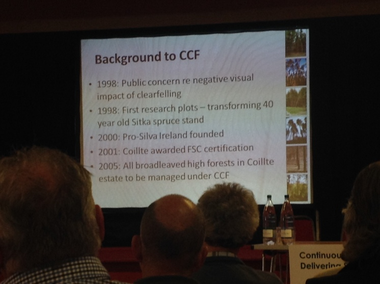 Aine ni Dhubhain, UCD, sharing the results of continuous cover forestry research from Ireland
