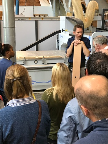 Letterfrack lecturer and PSI committee member Sean Garvey explains some of the advanced timber working machinery.