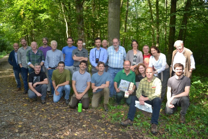 Committe members, general Irish and UK members with Pro Silva France forester Marc_Etienne Wilhelm in an Alsace forest, France, September Pro Silva Ireland study trip, 2018.