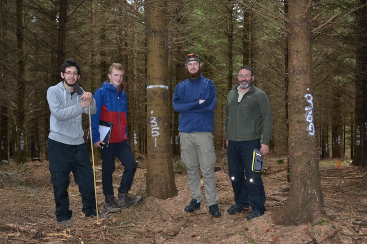 Mallaury Vagelli (timber engineering, University of Lorraine, working for summer with Brian Tobin at UCD), Fraser Wight (environmental and forest management, University of Aberdeen), Ted Smith (forestry, UCD) with Ted Wilson (Walsh Fellow, silviculture, Teagasc/UCD)